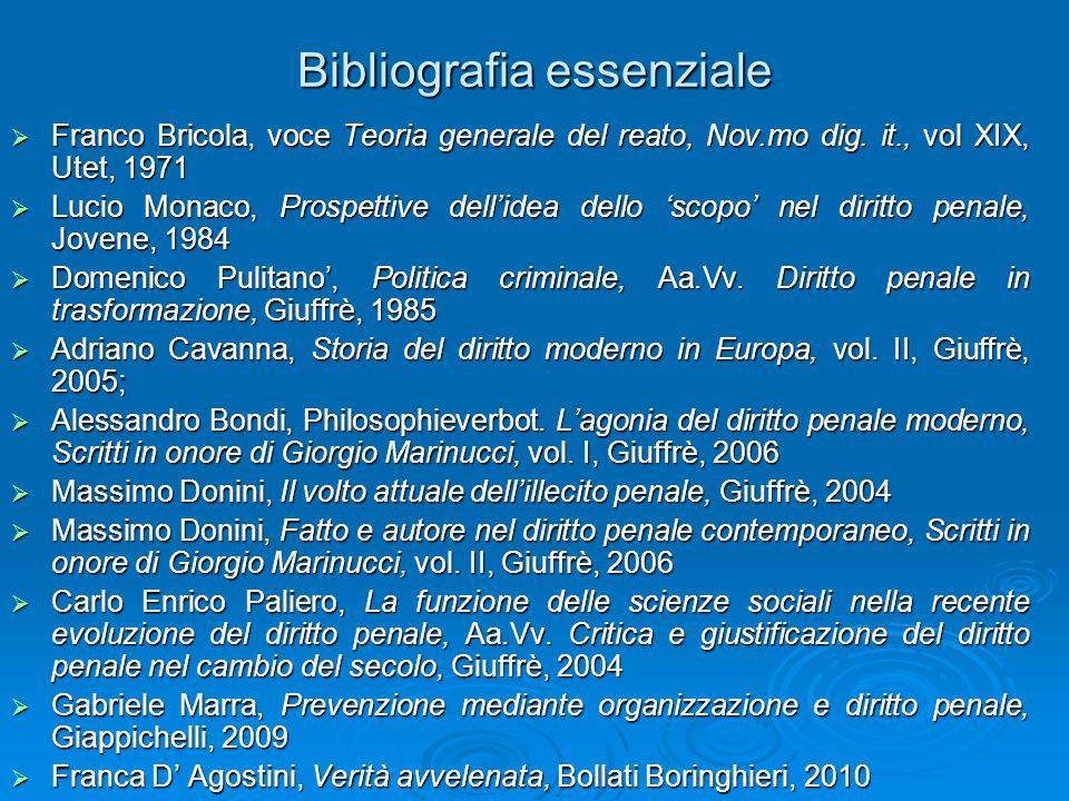 Bibliografia essenziale  Franco Bricola, voce Teoria generale del reato, Nov.mo dig. it., vol XIX, Utet, 1971  Lucio Monaco, Prospettive dell'idea d