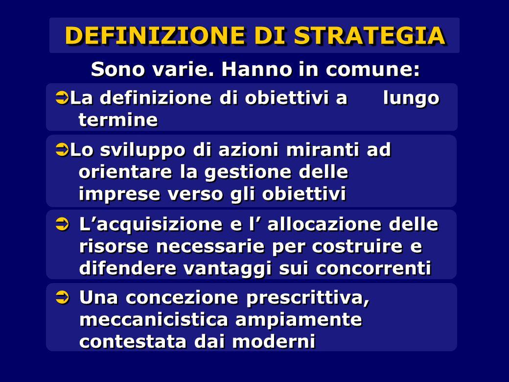   La definizione di obiettivi a lungo termine DEFINIZIONE DI STRATEGIA   Lo sviluppo di azioni miranti ad orientare la gestione delle imprese vers