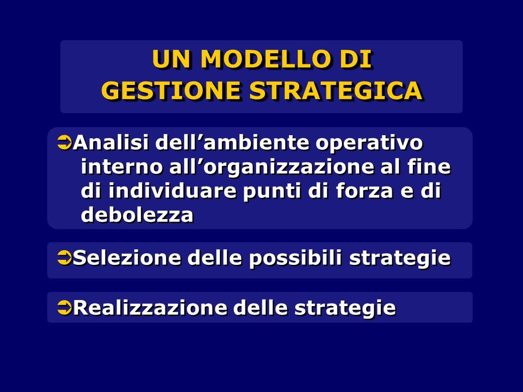   Analisi dell'ambiente operativo interno all'organizzazione al fine di individuare punti di forza e di debolezza   Selezione delle possibili stra