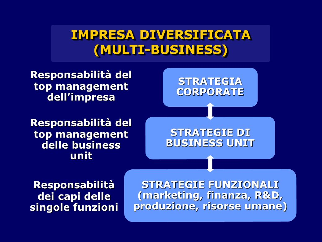 STRATEGIE FUNZIONALI (marketing, finanza, R&D, produzione, risorse umane) STRATEGIE DI BUSINESS UNIT IMPRESA DIVERSIFICATA (MULTI-BUSINESS) (MULTI-BUS