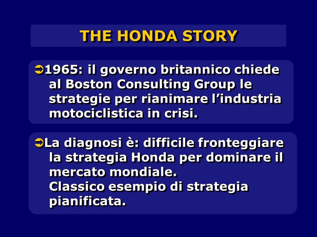  1965: il governo britannico chiede al Boston Consulting Group le strategie per rianimare l'industria motociclistica in crisi. THE HONDA STORY  La d