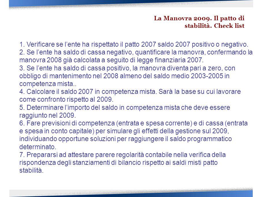 La Manovra 2009. Il patto di stabilità. Check list 1. Verificare se l'ente ha rispettato il patto 2007 saldo 2007 positivo o negativo. 2. Se l'ente ha