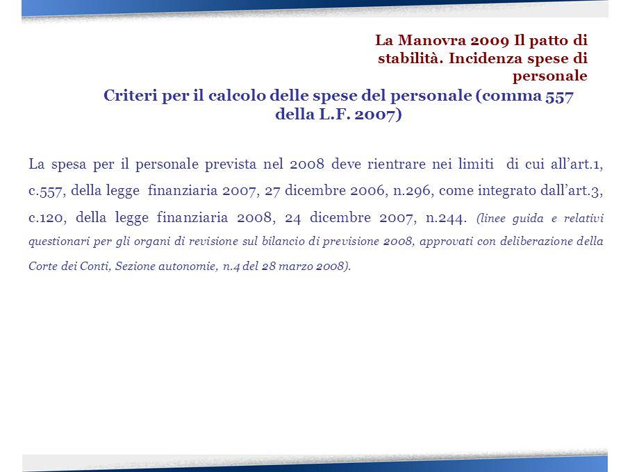 La spesa per il personale prevista nel 2008 deve rientrare nei limiti di cui all'art.1, c.557, della legge finanziaria 2007, 27 dicembre 2006, n.296,