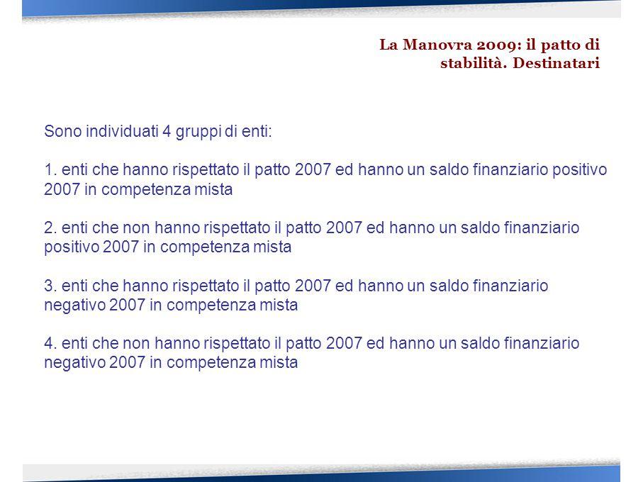 Sono individuati 4 gruppi di enti: 1. enti che hanno rispettato il patto 2007 ed hanno un saldo finanziario positivo 2007 in competenza mista 2. enti