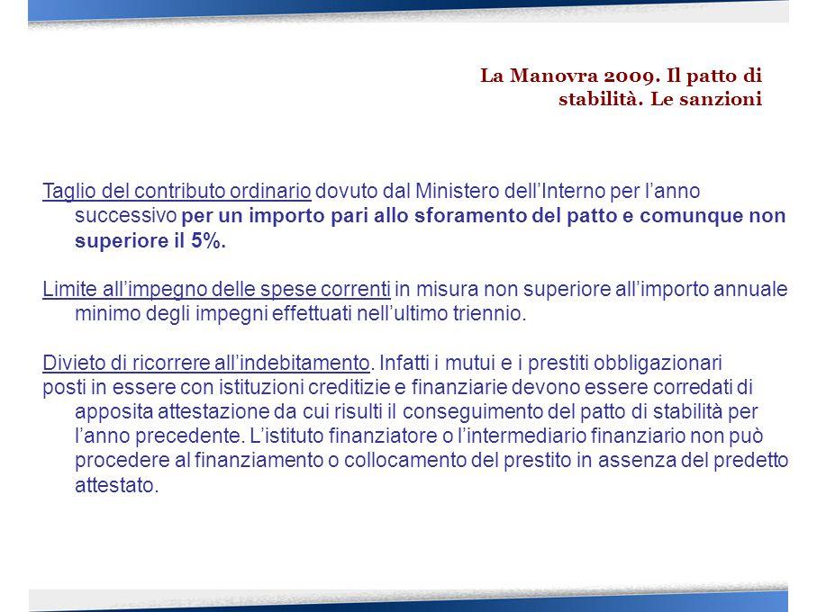 Taglio del contributo ordinario dovuto dal Ministero dell'Interno per l'anno successivo per un importo pari allo sforamento del patto e comunque non superiore il 5%.