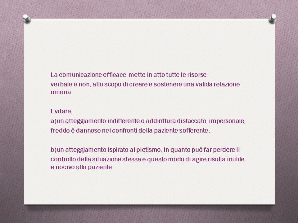 La comunicazione efficace mette in atto tutte le risorse verbale e non, allo scopo di creare e sostenere una valida relazione umana.