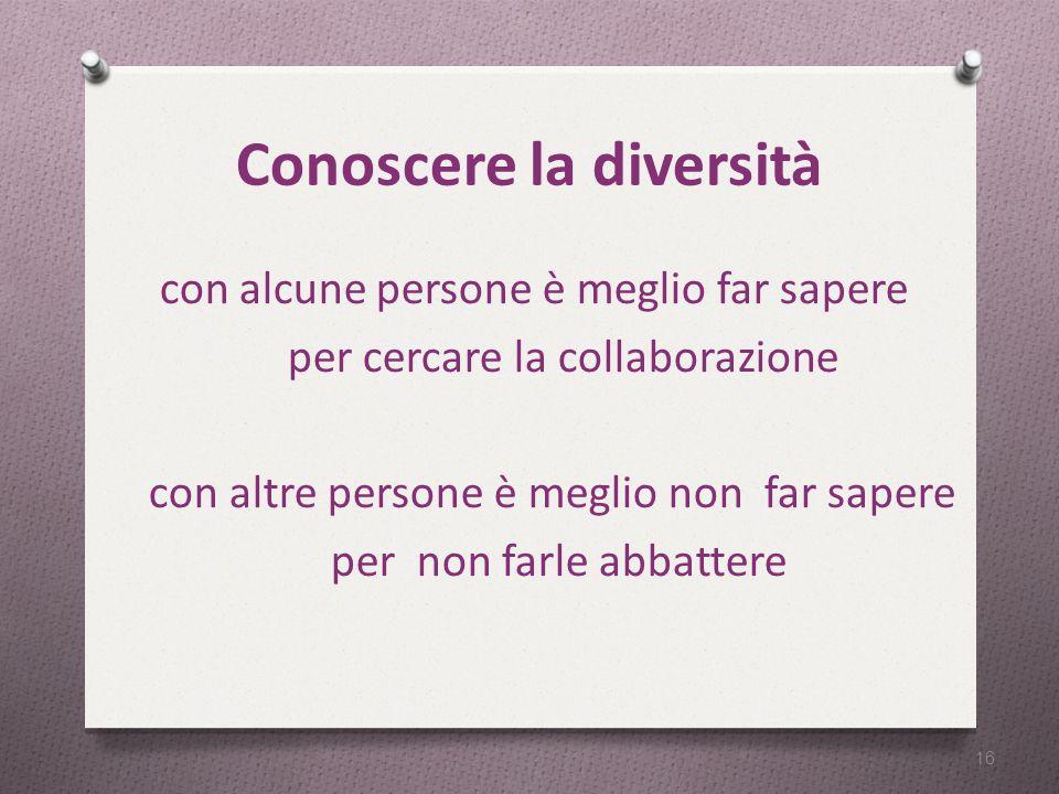 Conoscere la diversità con alcune persone è meglio far sapere per cercare la collaborazione con altre persone è meglio non far sapere per non farle abbattere 16