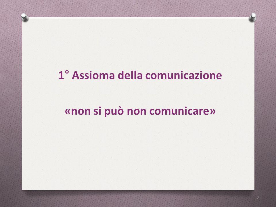 1° Assioma della comunicazione «non si può non comunicare» 2