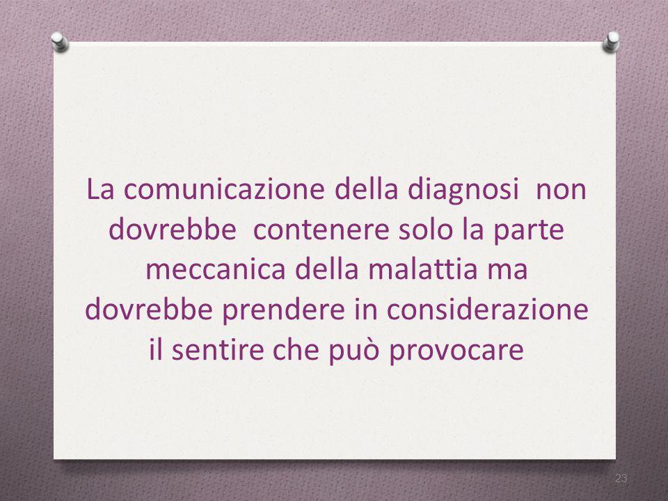La comunicazione della diagnosi non dovrebbe contenere solo la parte meccanica della malattia ma dovrebbe prendere in considerazione il sentire che può provocare 23