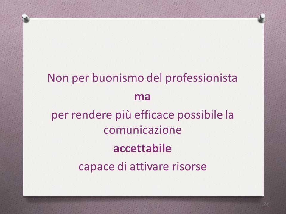 Non per buonismo del professionista ma per rendere più efficace possibile la comunicazione accettabile capace di attivare risorse 24