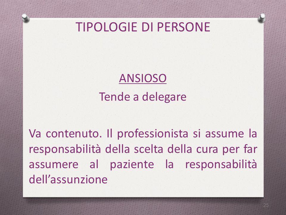 TIPOLOGIE DI PERSONE ANSIOSO Tende a delegare Va contenuto.