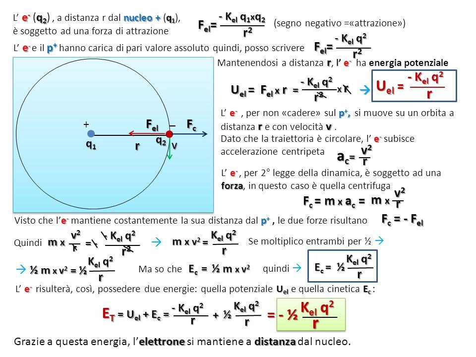 r + _ e - q 2 nucleo + q 1 L' e - (q 2 ), a distanza r dal nucleo + (q 1 ), è soggetto ad una forza di attrazione F el = - K el q 1 x q 2 r2r2r2r2 (se