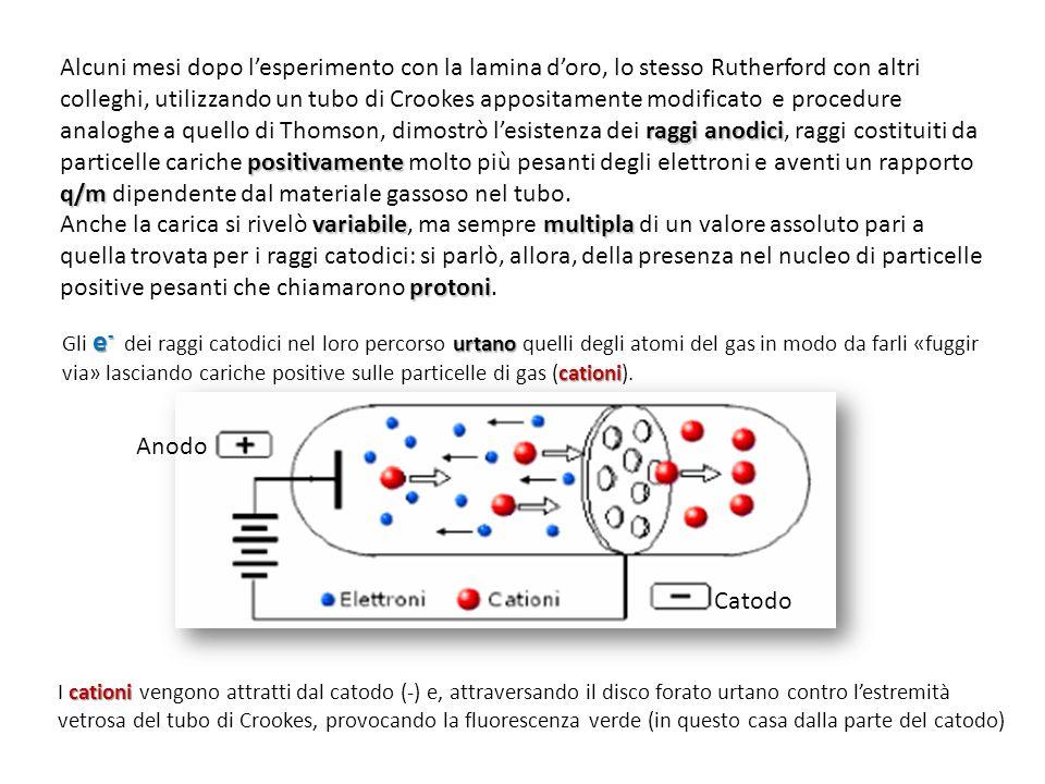 raggi anodici positivamente q/m Alcuni mesi dopo l'esperimento con la lamina d'oro, lo stesso Rutherford con altri colleghi, utilizzando un tubo di Cr