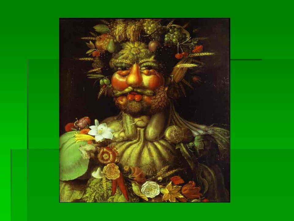 Dipingeva figure umane composte da vegetali, frutta, addirittura uccelli, assemblati in modo tale da fornire immagini veramente suggestive…… Dipingeva figure umane composte da vegetali, frutta, addirittura uccelli, assemblati in modo tale da fornire immagini veramente suggestive……