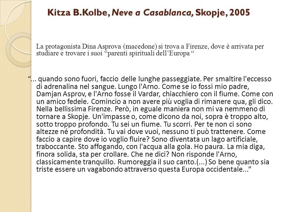 Kitza B.Kolbe, Neve a Casablanca, Skopje, 2005 La protagonista Dina Asprova (macedone) si trova a Firenze, dove è arrivata per studiare e trovare i su