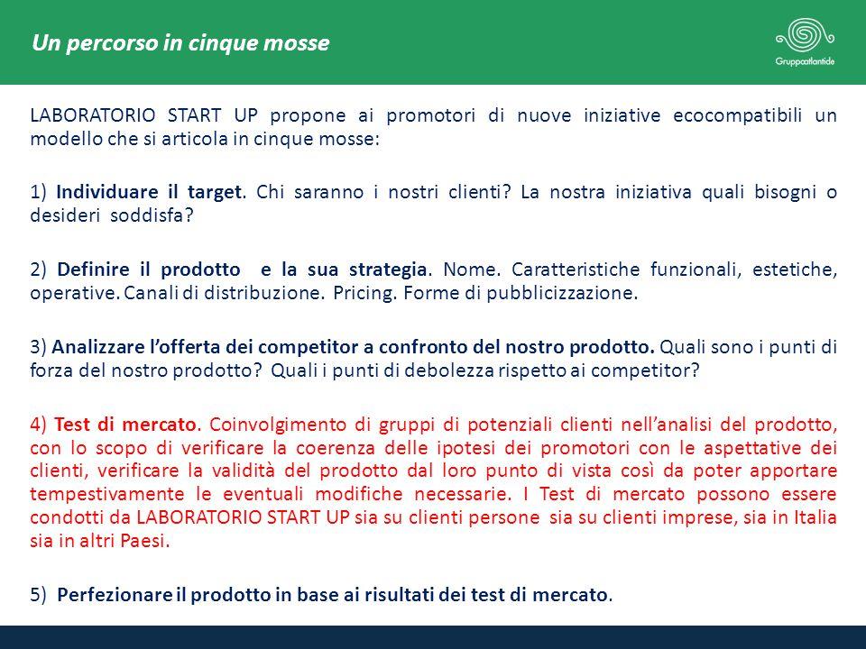 LABORATORIO START UP propone ai promotori di nuove iniziative ecocompatibili un modello che si articola in cinque mosse: 1) Individuare il target.
