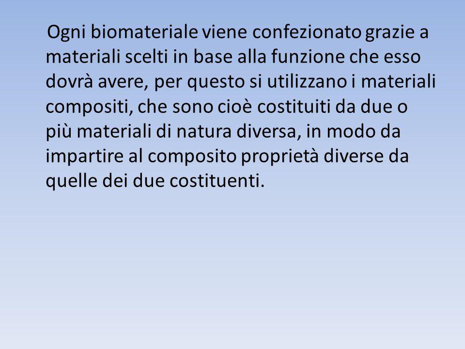 Ogni biomateriale viene confezionato grazie a materiali scelti in base alla funzione che esso dovrà avere, per questo si utilizzano i materiali compositi, che sono cioè costituiti da due o più materiali di natura diversa, in modo da impartire al composito proprietà diverse da quelle dei due costituenti.