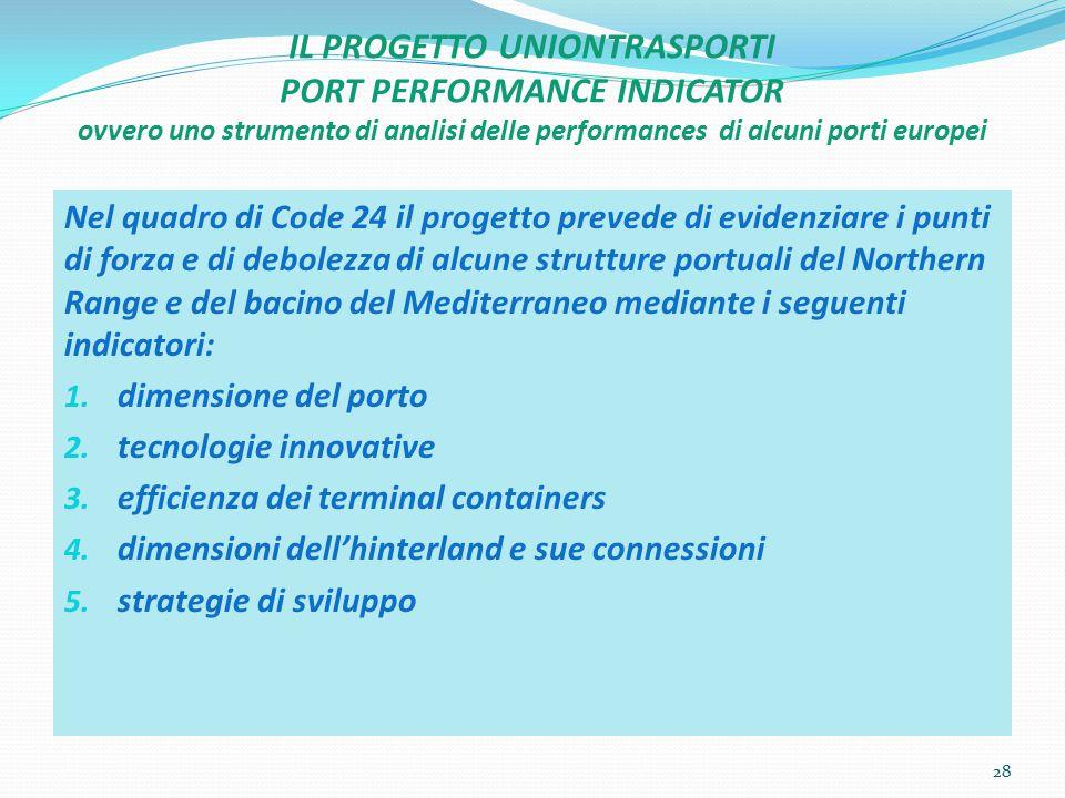IL PROGETTO UNIONTRASPORTI PORT PERFORMANCE INDICATOR ovvero uno strumento di analisi delle performances di alcuni porti europei Nel quadro di Code 24
