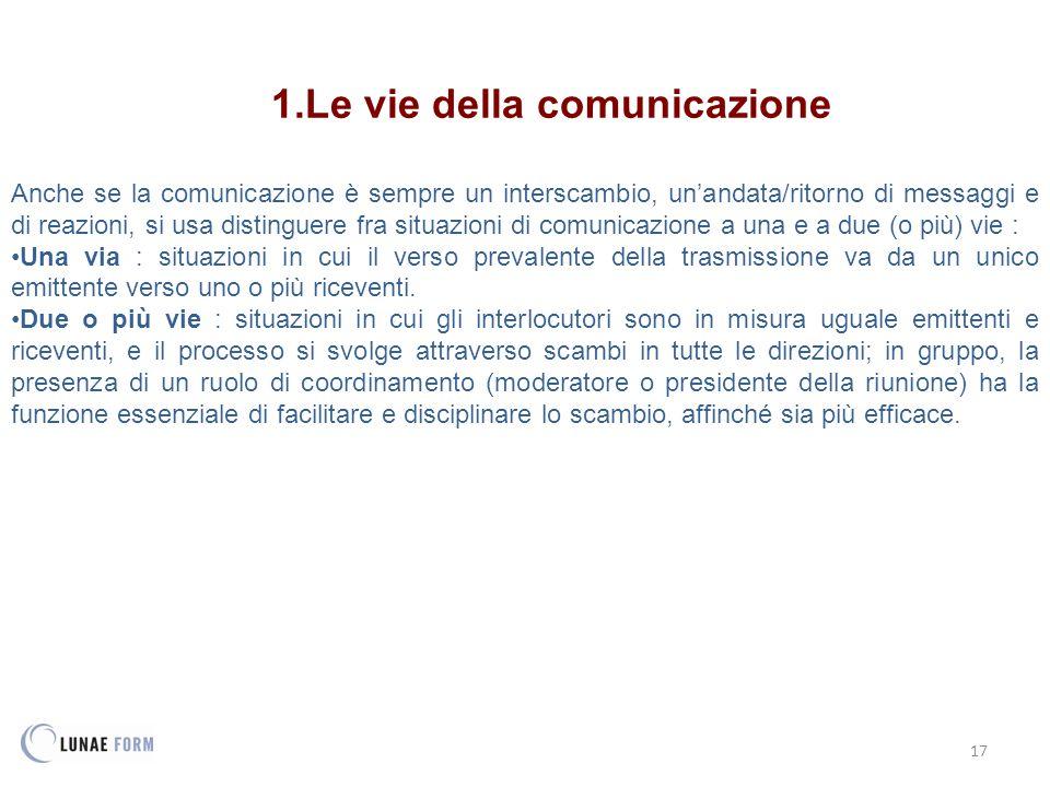 17 1.Le vie della comunicazione Anche se la comunicazione è sempre un interscambio, un'andata/ritorno di messaggi e di reazioni, si usa distinguere fr