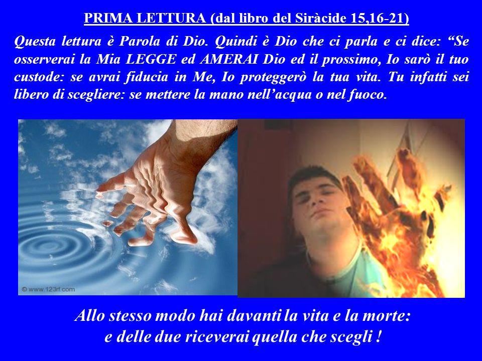 PRIMA LETTURA (dal libro del Siràcide 15,16-21) Questa lettura è Parola di Dio.