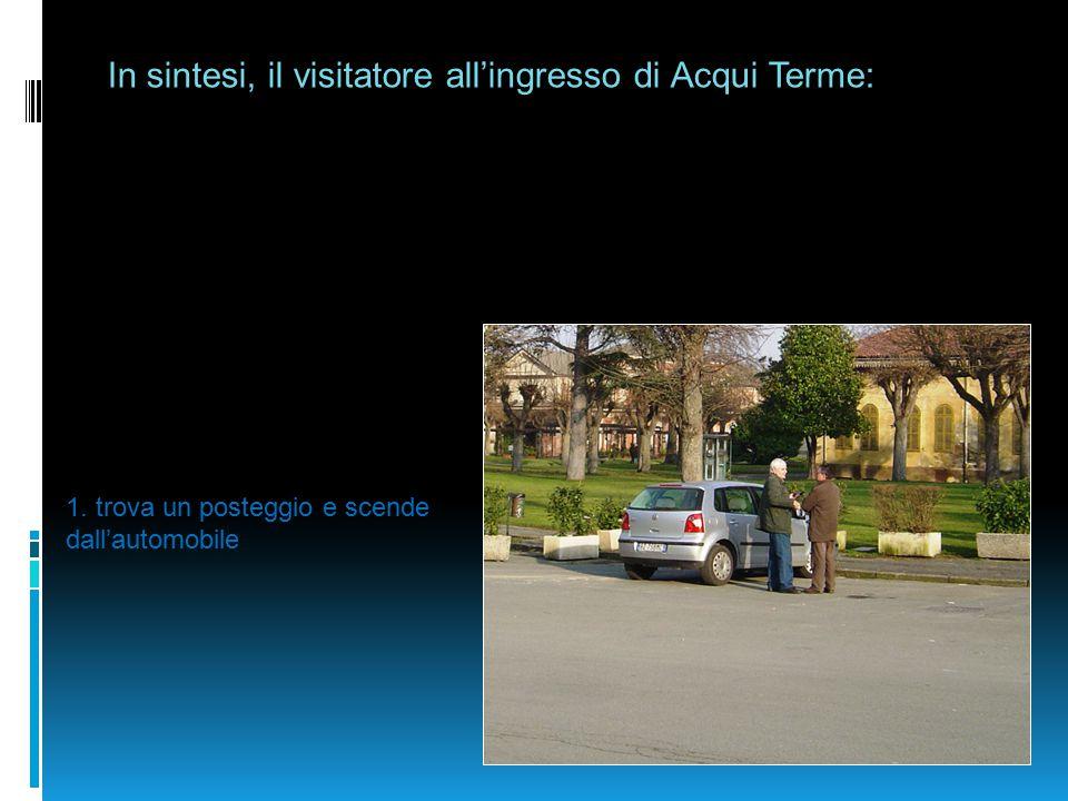 In sintesi, il visitatore all'ingresso di Acqui Terme: 1. trova un posteggio e scende dall'automobile