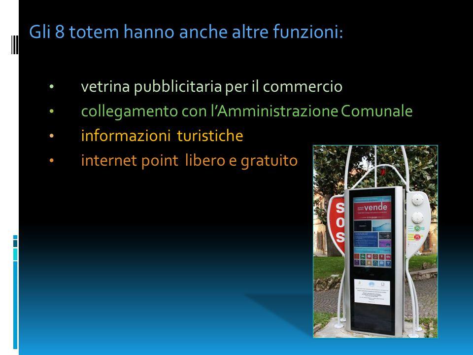 Gli 8 totem hanno anche altre funzioni: vetrina pubblicitaria per il commercio collegamento con l'Amministrazione Comunale informazioni turistiche int