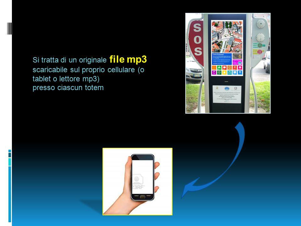 Si tratta di un originale file mp3 scaricabile sul proprio cellulare (o tablet o lettore mp3) presso ciascun totem