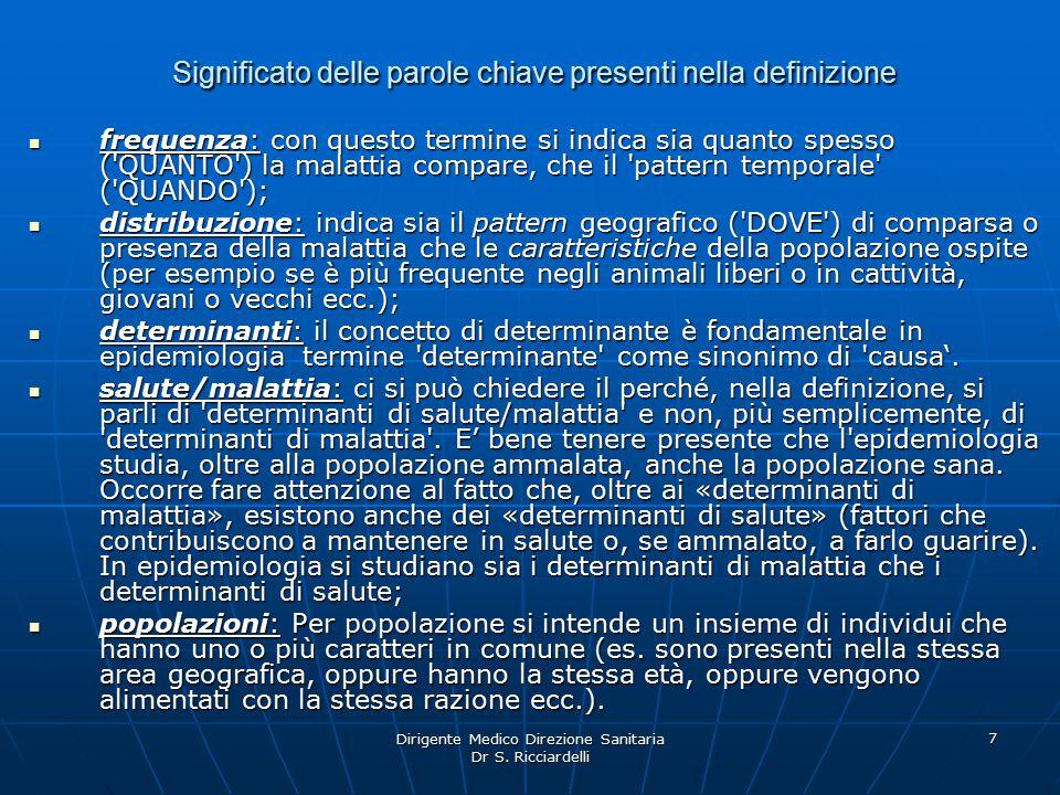 Dirigente Medico Direzione Sanitaria Dr S. Ricciardelli 8 Epidemiologia