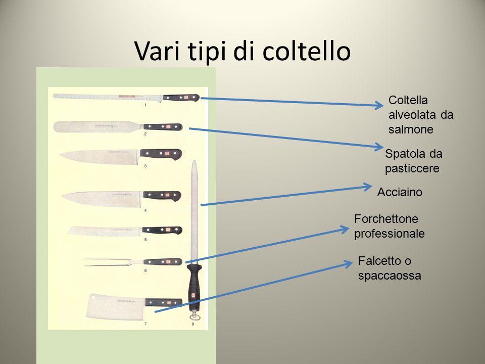 Vari tipi di coltello Coltella alveolata da salmone Spatola da pasticcere Acciaino Forchettone professionale Falcetto o spaccaossa