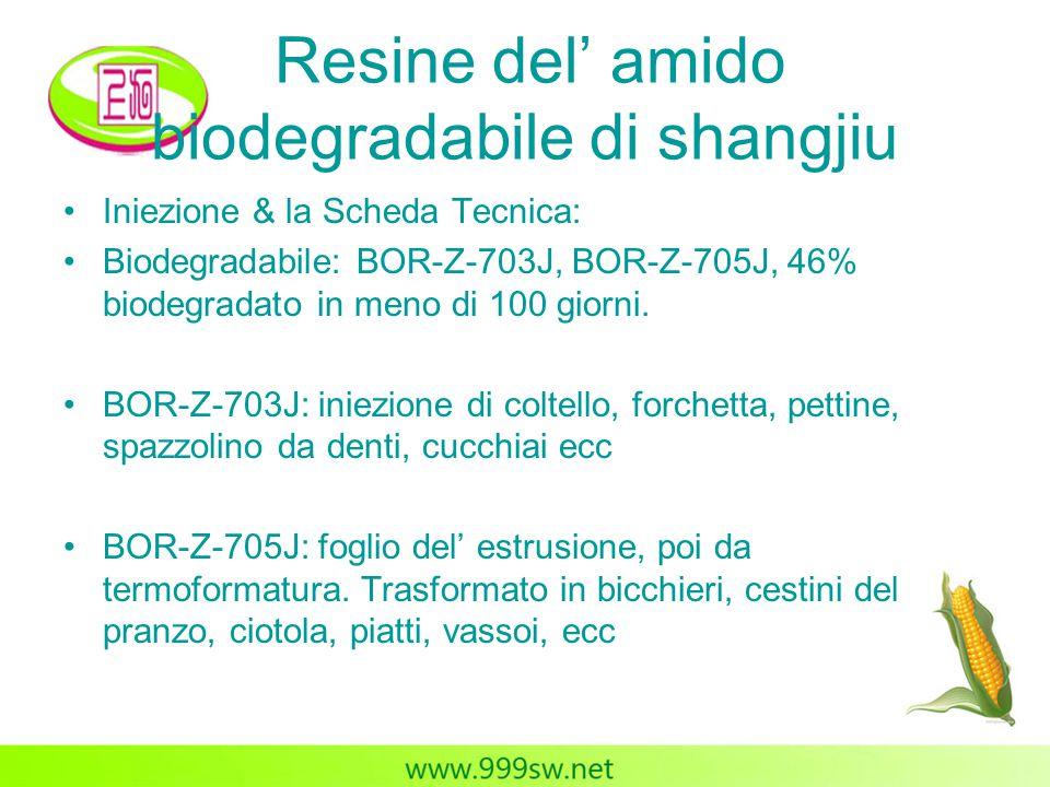 Resine del' amido biodegradabile di shangjiu Iniezione & la Scheda Tecnica: Biodegradabile: BOR-Z-703J, BOR-Z-705J, 46% biodegradato in meno di 100 gi