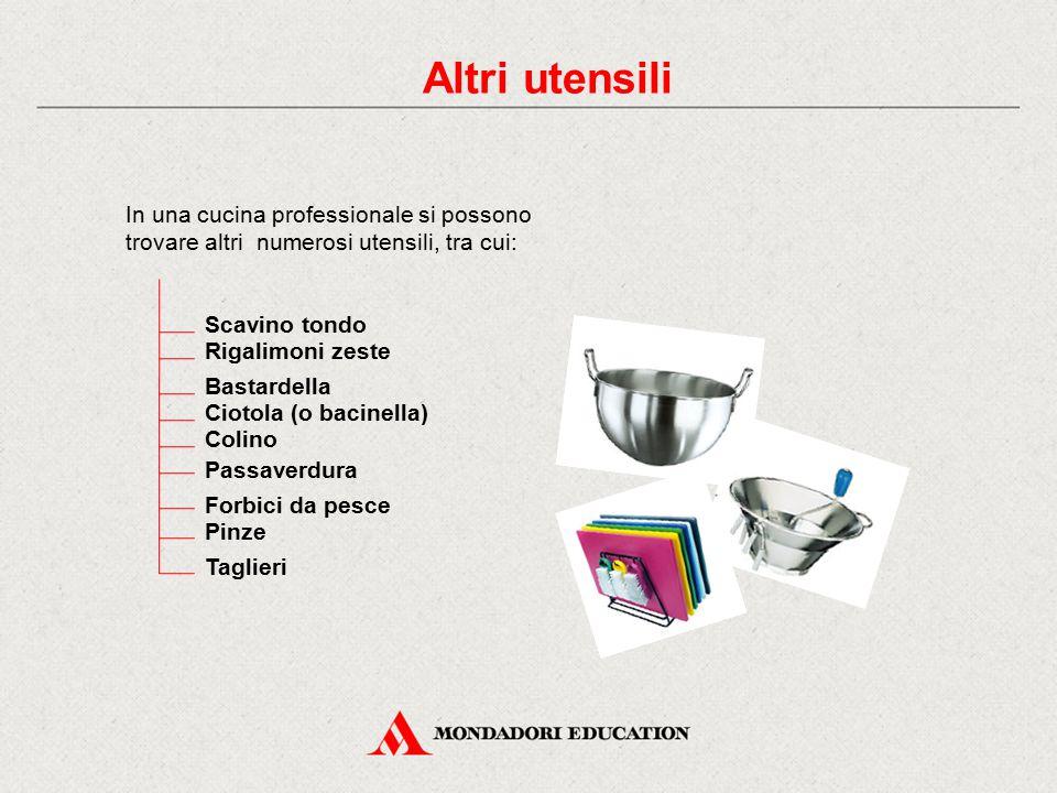 Altri utensili In una cucina professionale si possono trovare altri numerosi utensili, tra cui: Scavino tondo Rigalimoni zeste Bastardella Ciotola (o