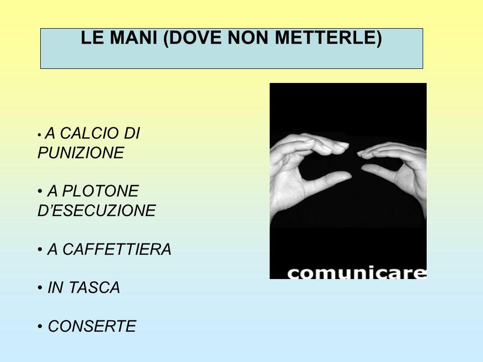 A CALCIO DI PUNIZIONE A PLOTONE D'ESECUZIONE A CAFFETTIERA IN TASCA CONSERTE LE MANI (DOVE NON METTERLE)