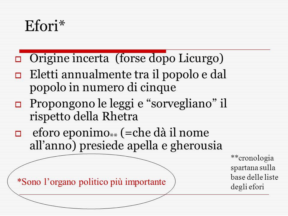 """Efori*  Origine incerta (forse dopo Licurgo)  Eletti annualmente tra il popolo e dal popolo in numero di cinque  Propongono le leggi e """"sorvegliano"""