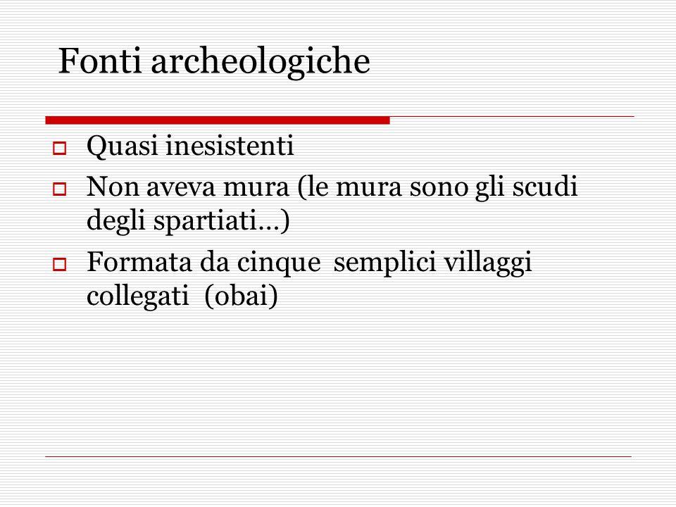 Fonti archeologiche  Quasi inesistenti  Non aveva mura (le mura sono gli scudi degli spartiati…)  Formata da cinque semplici villaggi collegati (obai)