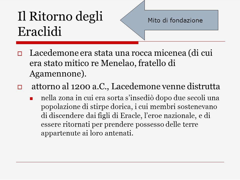 Il Ritorno degli Eraclidi  Lacedemone era stata una rocca micenea (di cui era stato mitico re Menelao, fratello di Agamennone).  attorno al 1200 a.C