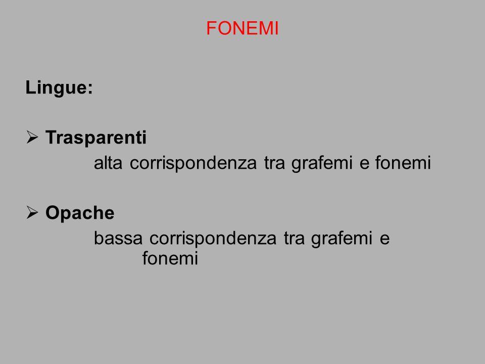 Lingue:  Trasparenti alta corrispondenza tra grafemi e fonemi  Opache bassa corrispondenza tra grafemi e fonemi FONEMI