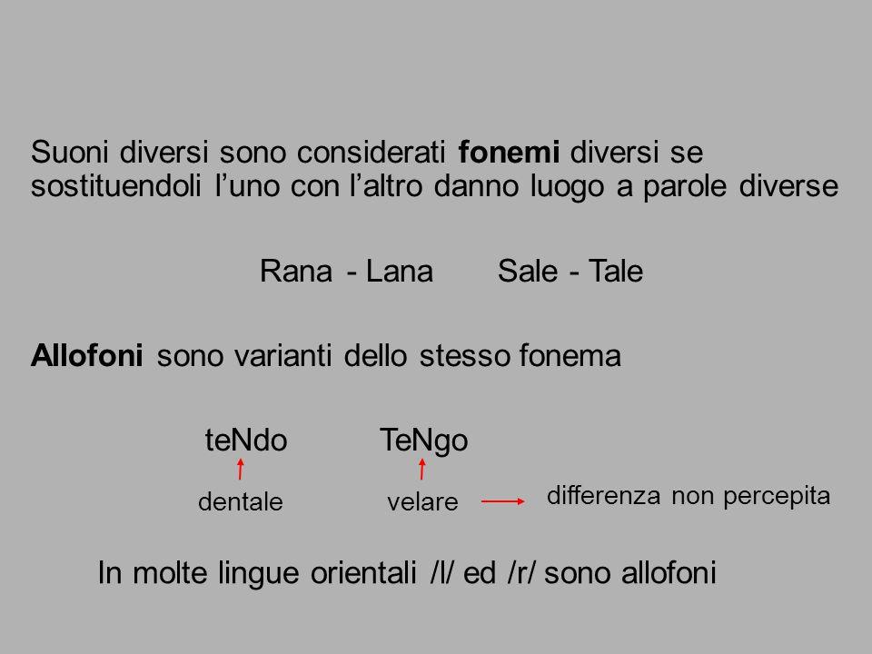 Suoni diversi sono considerati fonemi diversi se sostituendoli l'uno con l'altro danno luogo a parole diverse Rana- Lana Sale - Tale dentale velare di