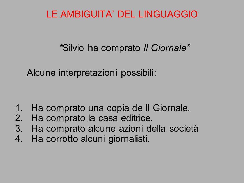 """""""Silvio ha comprato Il Giornale"""" Alcune interpretazioni possibili: LE AMBIGUITA' DEL LINGUAGGIO 1.Ha comprato una copia de Il Giornale. 2.Ha comprato"""
