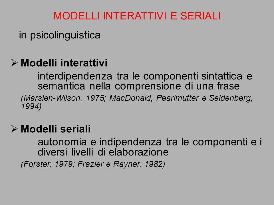 in psicolinguistica MODELLI INTERATTIVI E SERIALI  Modelli interattivi interdipendenza tra le componenti sintattica e semantica nella comprensione di