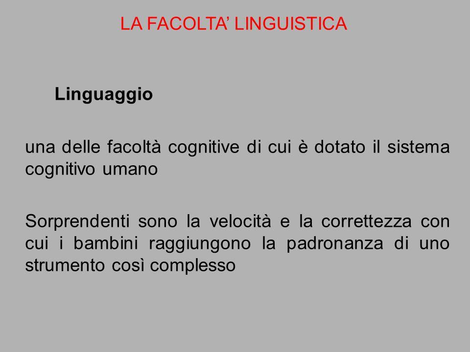 Linguaggio una delle facoltà cognitive di cui è dotato il sistema cognitivo umano Sorprendenti sono la velocità e la correttezza con cui i bambini rag