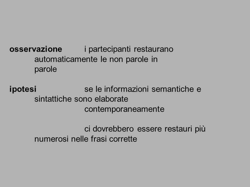 osservazionei partecipanti restaurano automaticamente le non parole in parole ipotesise le informazioni semantiche e sintattiche sono elaborate contem