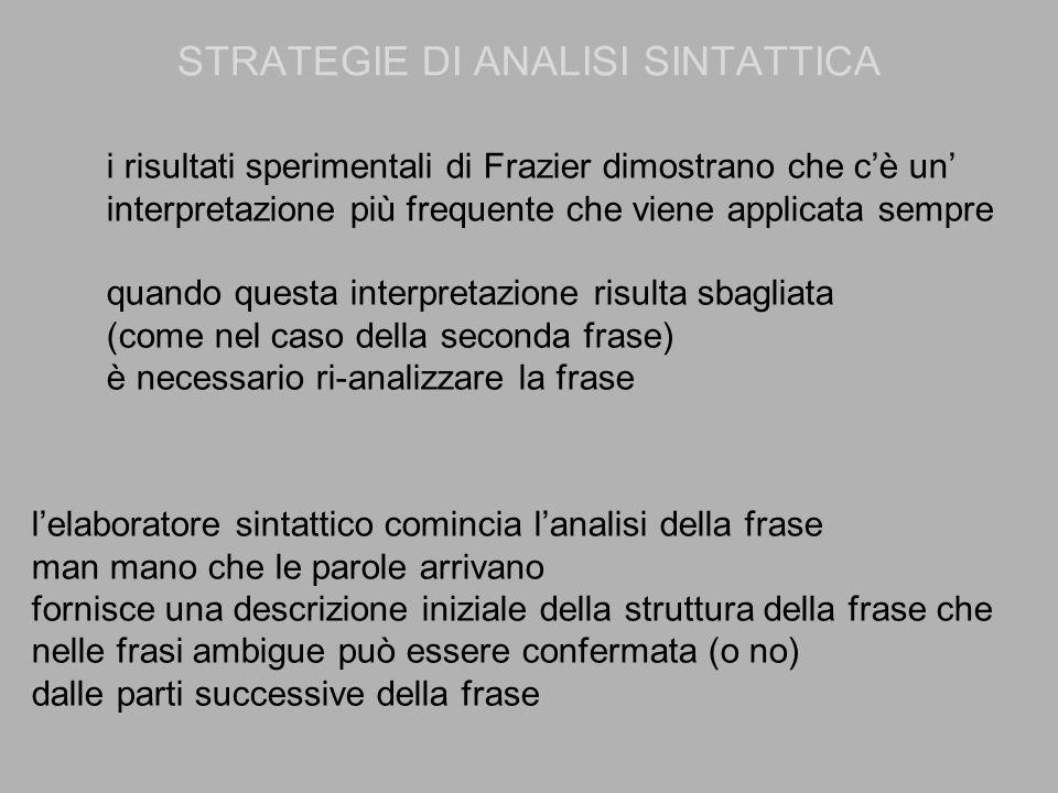 STRATEGIE DI ANALISI SINTATTICA i risultati sperimentali di Frazier dimostrano che c'è un' interpretazione più frequente che viene applicata sempre qu