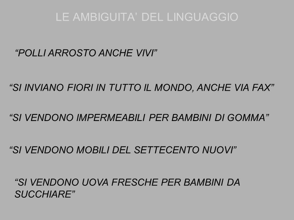 """LE AMBIGUITA' DEL LINGUAGGIO """"POLLI ARROSTO ANCHE VIVI"""" """"SI INVIANO FIORI IN TUTTO IL MONDO, ANCHE VIA FAX"""" """"SI VENDONO IMPERMEABILI PER BAMBINI DI GO"""