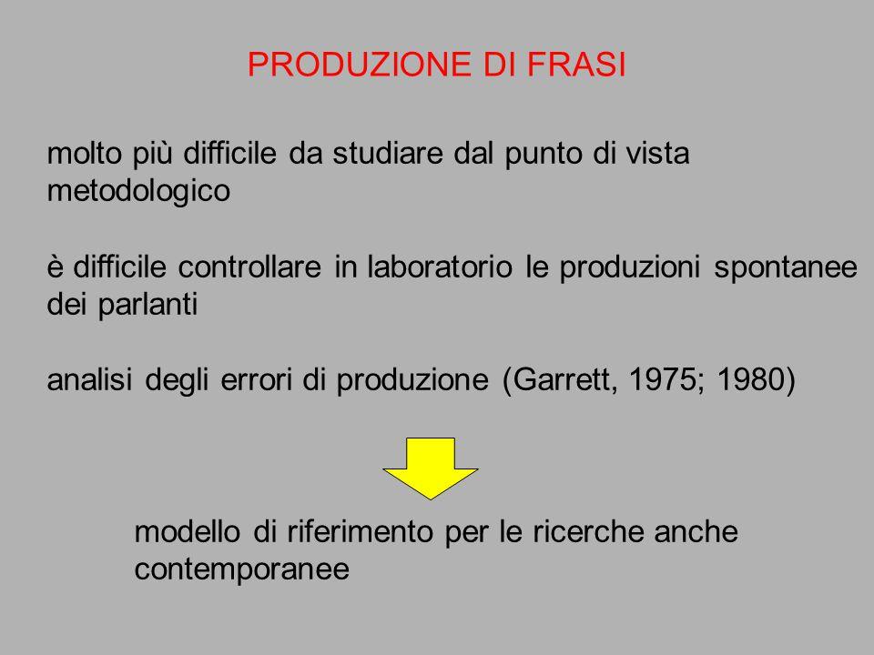 PRODUZIONE DI FRASI molto più difficile da studiare dal punto di vista metodologico è difficile controllare in laboratorio le produzioni spontanee dei