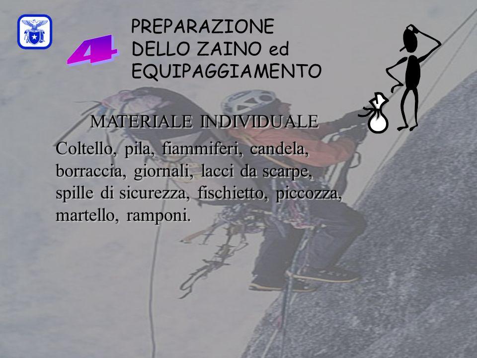 C0mmissione Interregionale Scuole di Alpinismo e Sci Alpinismo LPV PREPARAZIONE DELLO ZAINO ed EQUIPAGGIAMENTO MATERIALE INDIVIDUALE Coltello, pila, fiammiferi, candela, borraccia, giornali, lacci da scarpe, spille di sicurezza, fischietto, piccozza, martello, ramponi.