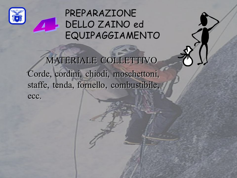 C0mmissione Interregionale Scuole di Alpinismo e Sci Alpinismo LPV PREPARAZIONE DELLO ZAINO ed EQUIPAGGIAMENTO MATERIALE COLLETTIVO Corde, cordini, ch