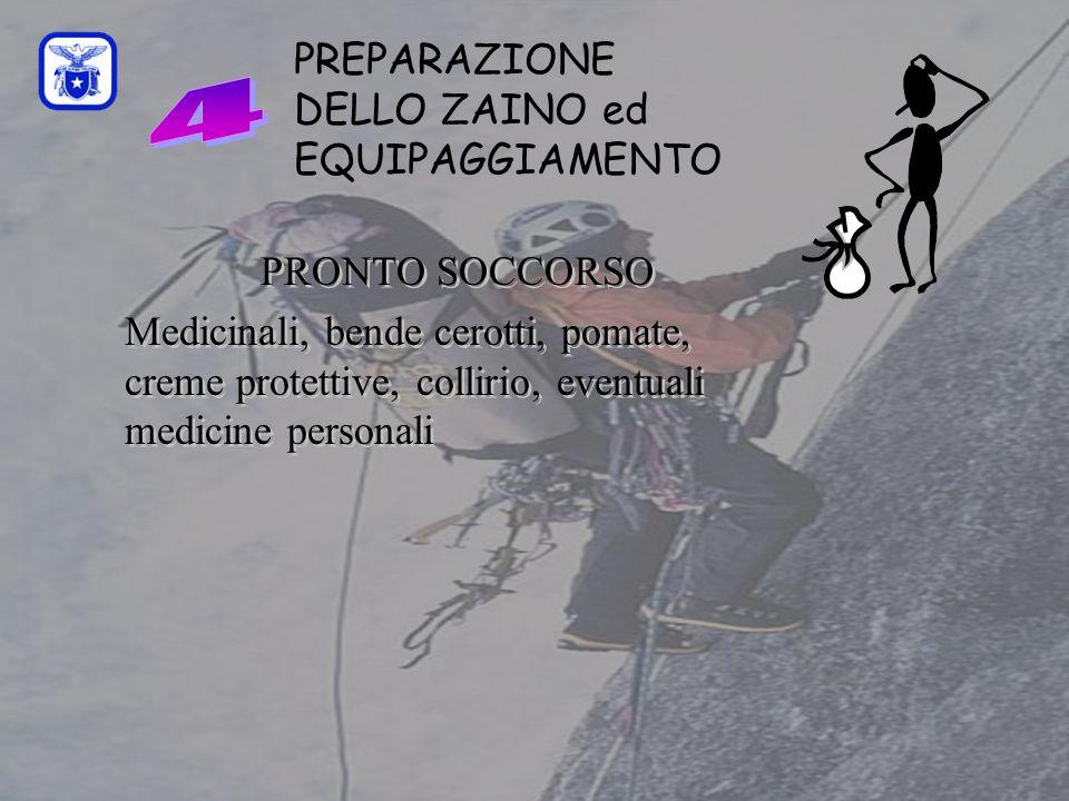 C0mmissione Interregionale Scuole di Alpinismo e Sci Alpinismo LPV PREPARAZIONE DELLO ZAINO ed EQUIPAGGIAMENTO PRONTO SOCCORSO Medicinali, bende cerot