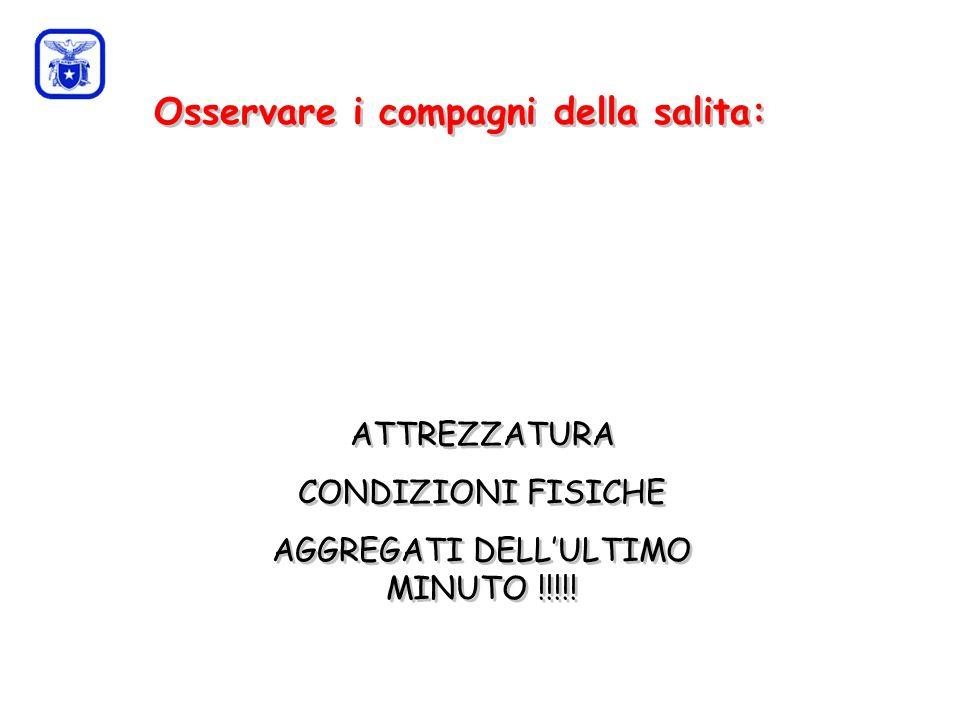 C0mmissione Interregionale Scuole di Alpinismo e Sci Alpinismo LPV Osservare i compagni della salita: ATTREZZATURA CONDIZIONI FISICHE AGGREGATI DELL'ULTIMO MINUTO !!!!.