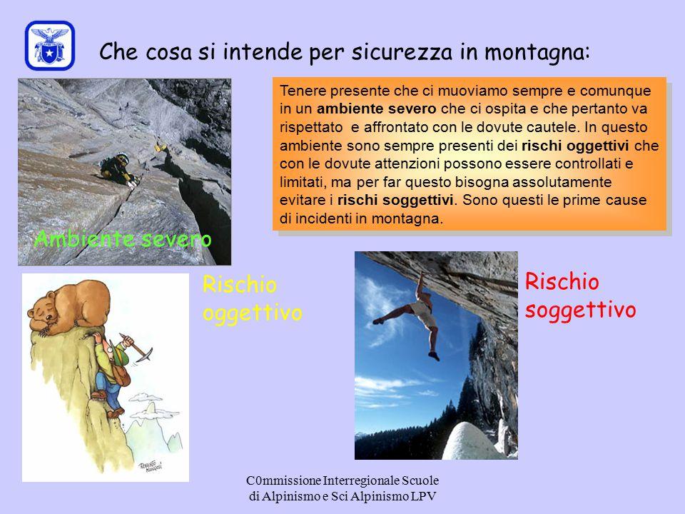 C0mmissione Interregionale Scuole di Alpinismo e Sci Alpinismo LPV Che cosa si intende per sicurezza in montagna: Ambiente severo Rischio oggettivo Ri