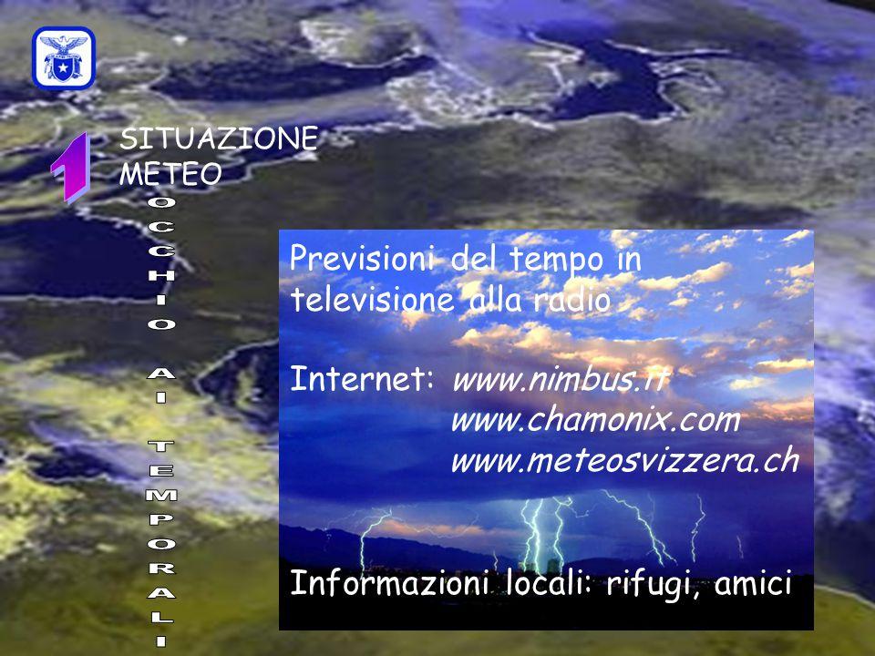 C0mmissione Interregionale Scuole di Alpinismo e Sci Alpinismo LPV SITUAZIONE METEO Previsioni del tempo in televisione alla radio Internet: www.nimbus.it www.chamonix.com www.meteosvizzera.ch Informazioni locali: rifugi, amici